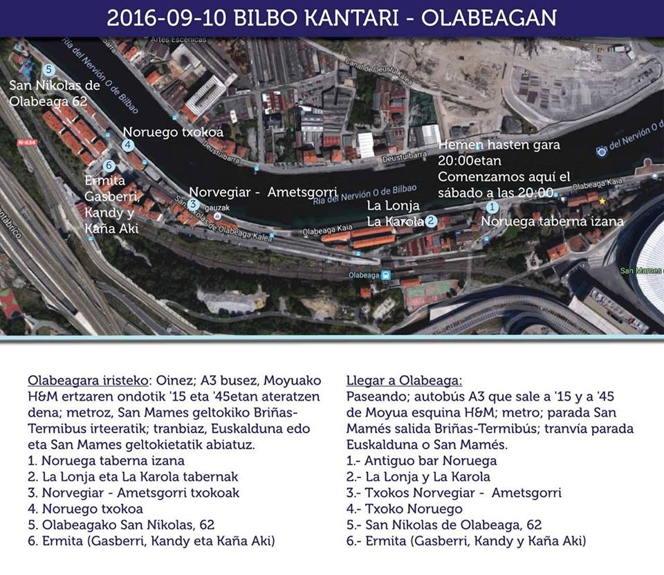 Recorrido del Bilbo Kantari por Olabeaga