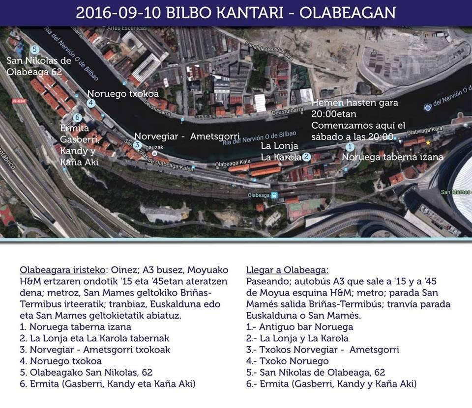 Recorrido del Bilbo Kantari por Olabeaga